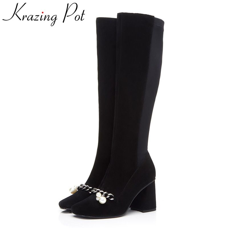 Krazing pot cow suede square toe high heels metal chains pearl decoration winter boots fashion superstar over-the-knee boots L22