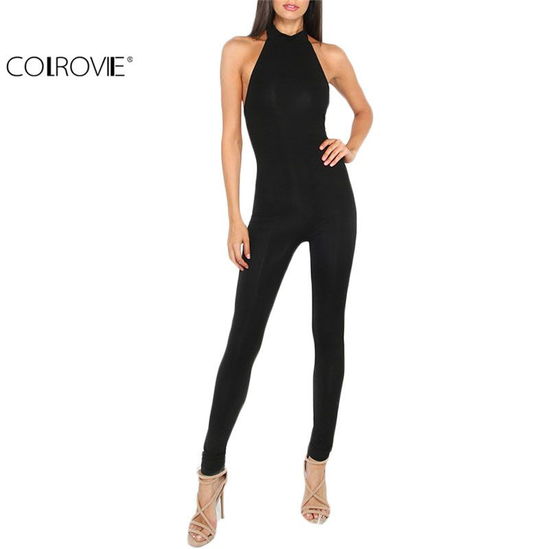 COLROVIE <font><b>Women</b></font> Plain Black jumpsuit Slim Backless Sexy Ladies Summer Sleeveless Round Neck Bodycon Sheath Jumpsuit