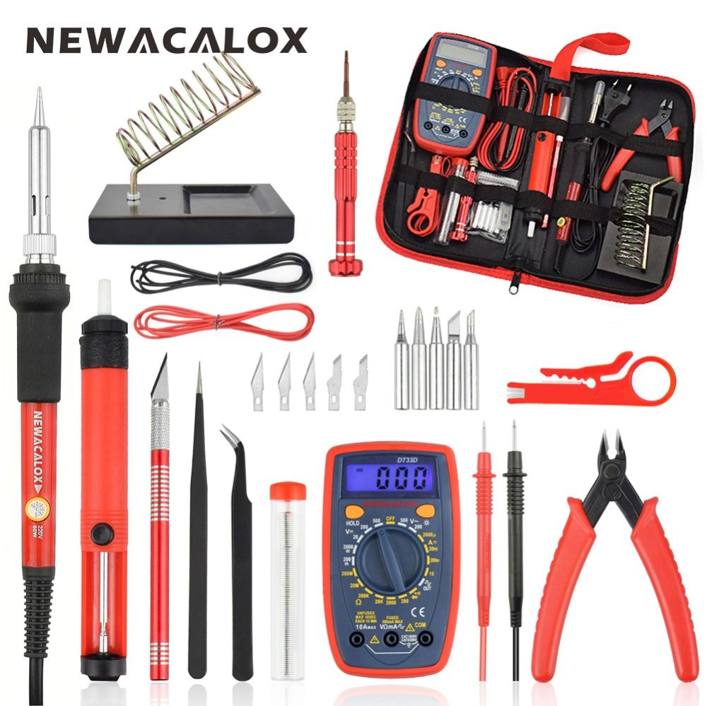 NEWACALOX EU/US 60W Electric Soldering Iron Kit Digital Multimeter Tweezers Plier Desoldering Pump Solder Welding Repair Tools