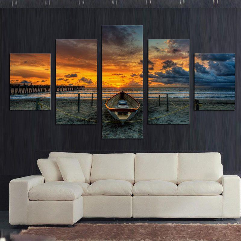No Frame 5 Panneau Marin Et Bateau Avec HD en Gros Caractères Peinture sur toile Pour Le Salon Maison Décoration Cadeau Unique Mur Photo