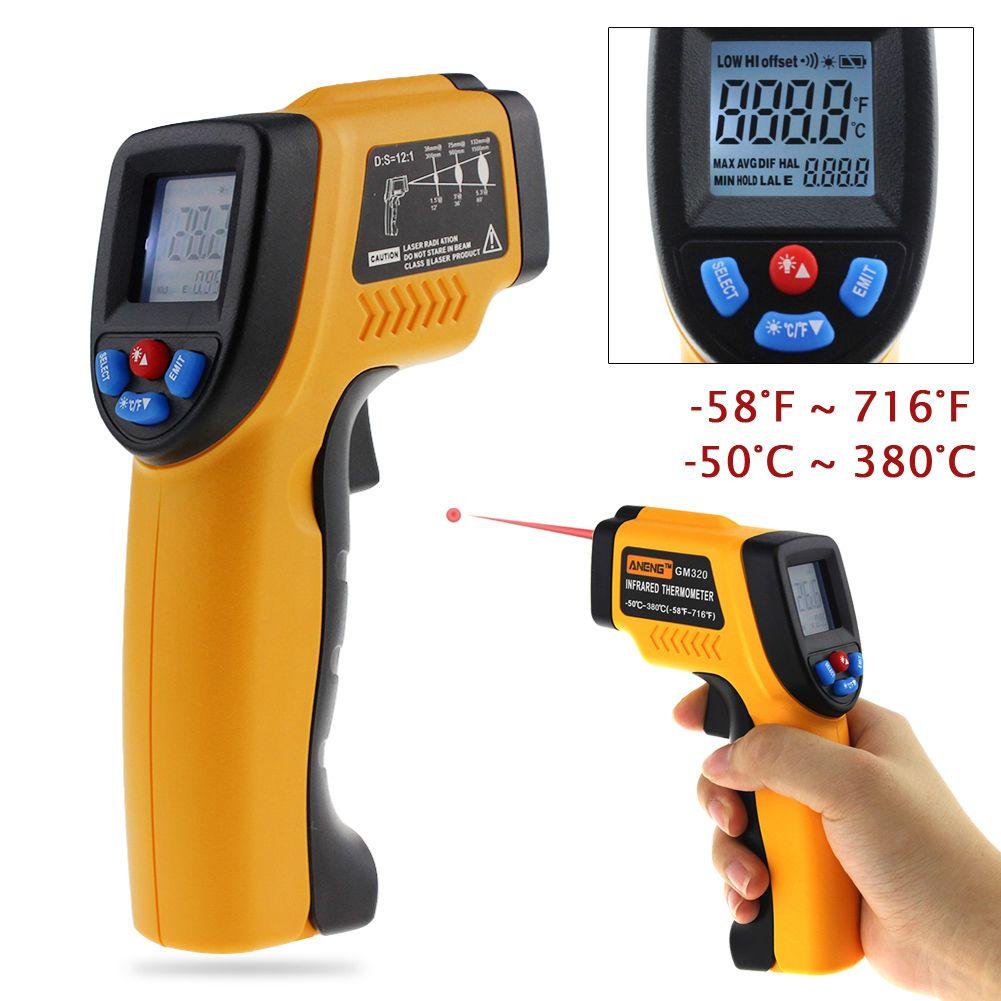 GM320 Pistolet Thermomètre Infrarouge Numérique sans contact IR Laser Pistolet De Température Pyromètre-outil de Diagnostic TesterRange-50 à 380 C