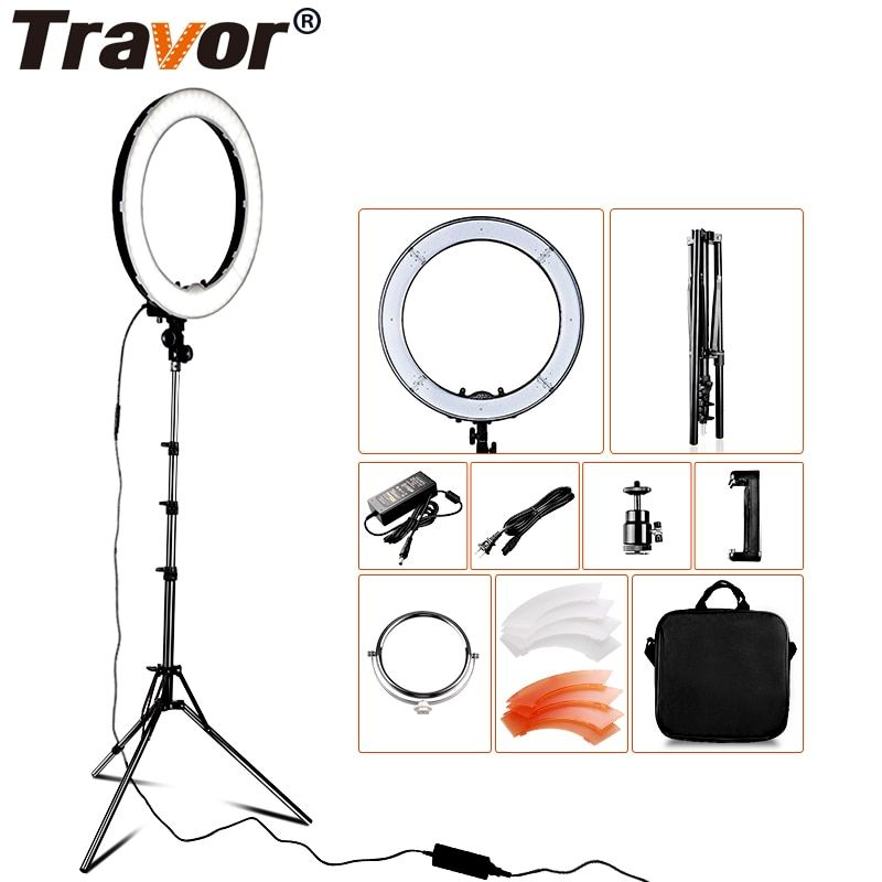 RL-18 240pcs LED 3200K/5500K Dimmable LED Ring Light Lamp Photography Photo/Studio/Phone/Video With 2m Tripod Stand For Camera