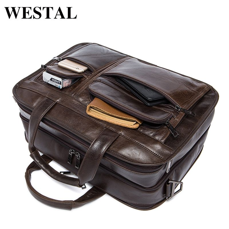 WESTAL Messenger Bag Men's shoulder bag Genuine leather Male man Briefcases laptop big Men's Travel Bags for men handbags 8893