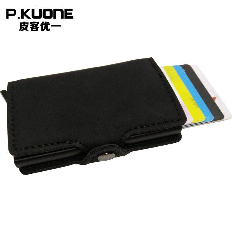 P. kuone RFID Блокировка мини бумажник 2017 Защитите безопасный кредитной держатель для карт качество дизайнер Алюминий искусственная кожа клип У...