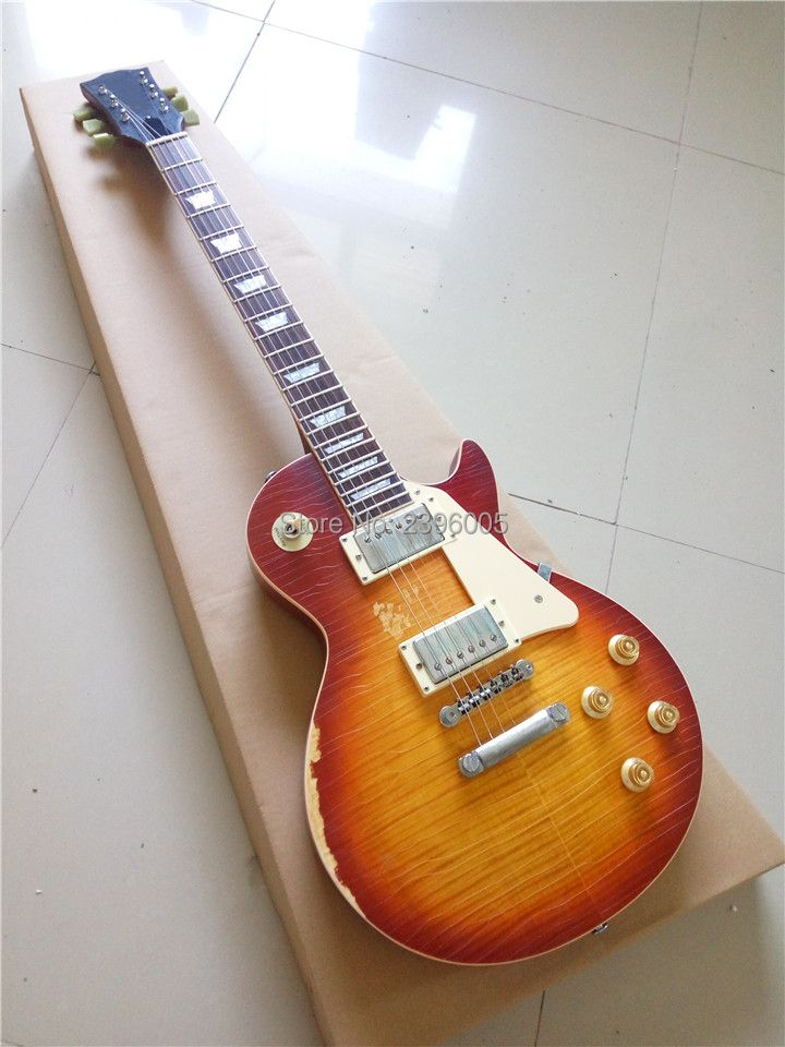 Custom exclusive LP Billy Gibbons standard electric guitar one piece neck and one piece body master build aged LP guitar