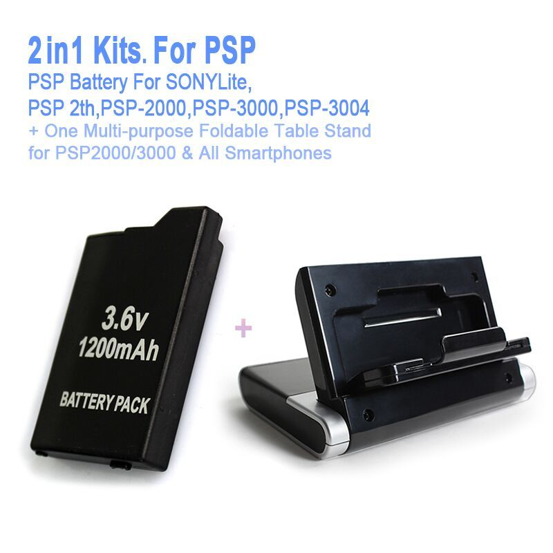 Game accessories for One PSP Battery + One Multi-purpose Console Stand For All SONY PSP-2000,3000