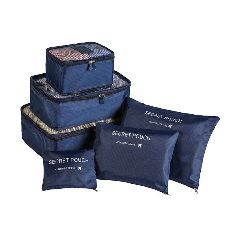 6 pièces/ensemble organisateur de voyage sacs de rangement Portable organisateur de bagages vêtements ranger pochette valise emballage Cube Case