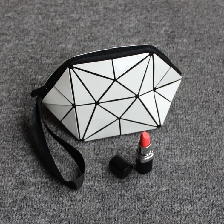 Geometric semicircle cosmetic bag pu leather 2017 Hot-selling Women Brand New pouch