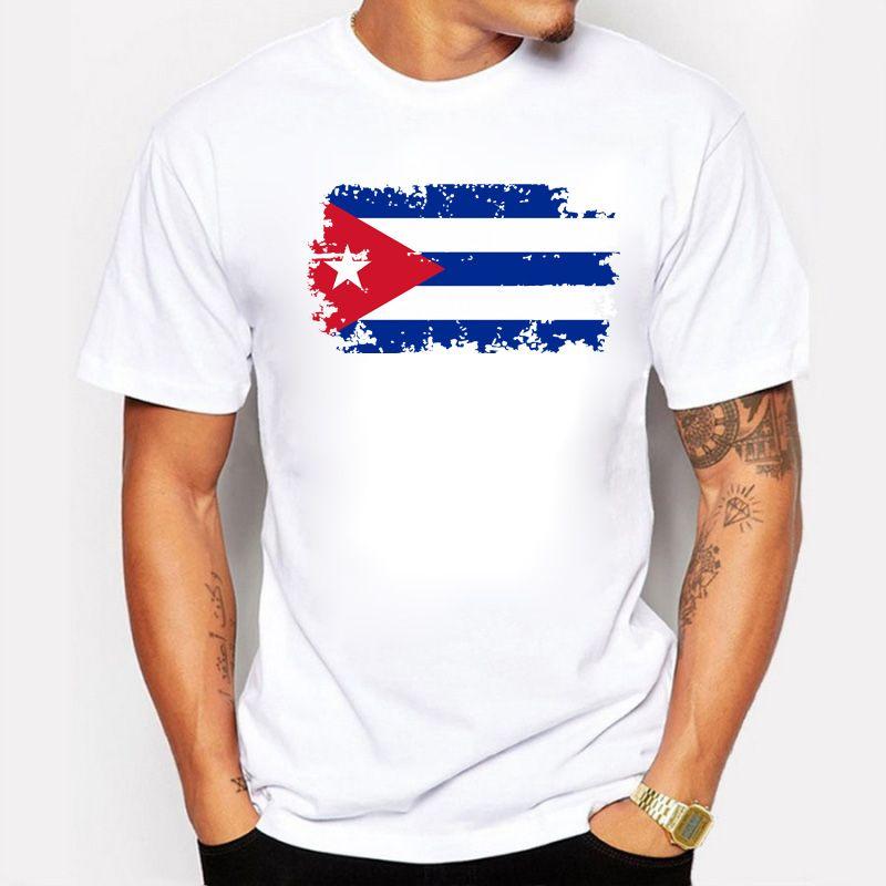 BLWHSA Cuba Fans acclamer T-shirts pour hommes Cuba drapeau National conception T-shirts courts coton T-shirts Style nostalgique haut d'été