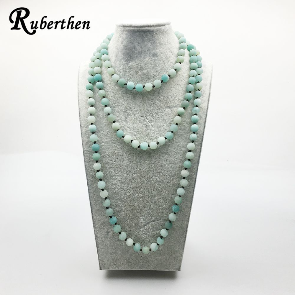 Ruberthen Designer Matte Amazonite Necklace 32/48/60 inch Knotted Frosted Stone Necklace Trendy Women`s Jewelry