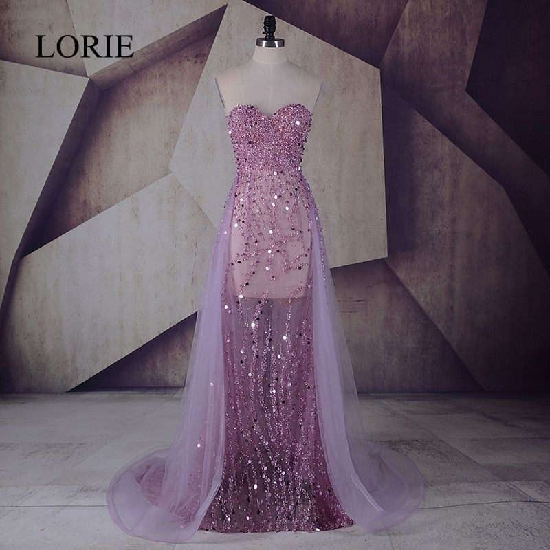 Haute Couture Mermaid Evening Dress With Crystal 2017 LORIE Lilac Tulle Beading Long Prom Dresses For Sexy Women Wedding Party