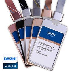 DEZHI Luxury Metal Material Business Card Holder, ID Card Badge Holder With Exquisite Lanyard Logo Custom,Office Supplies