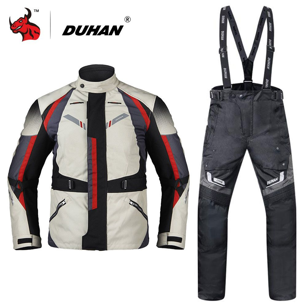 DUHAN Men Motorcycle Jacket Moto Autumn Winter Touring Clothing Suit Waterproof Cold-proof Motorcycle Pants Set Protective Gear
