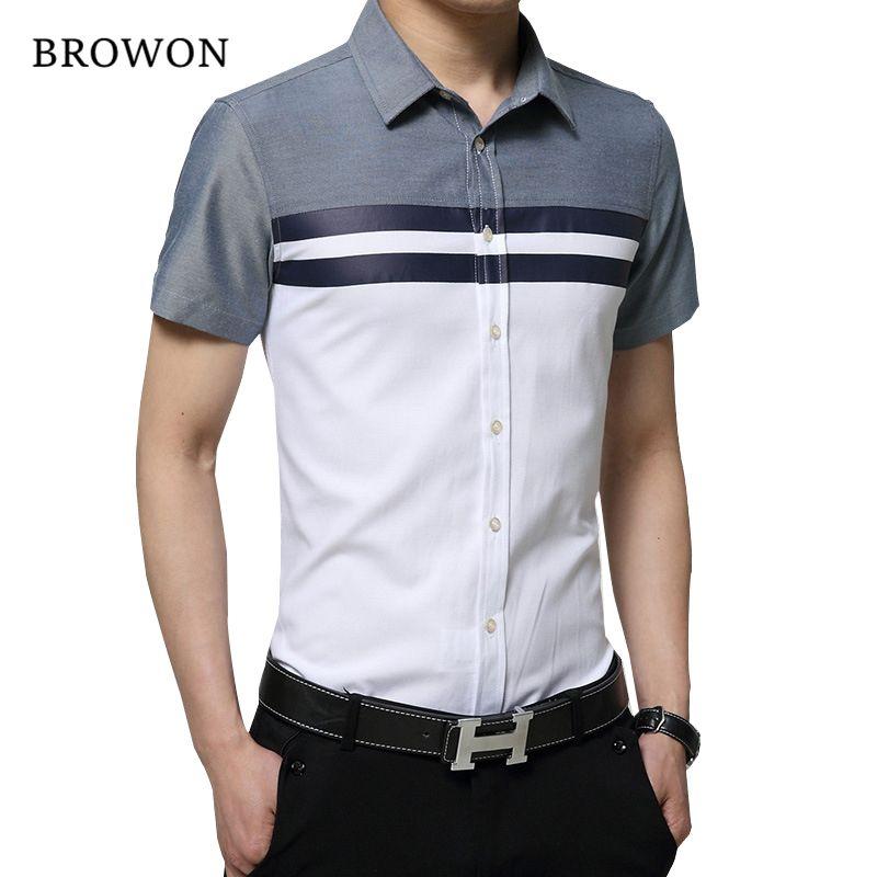 BROWON Neue Ankunft Mens Shirt Mode Kurzarm Männer Hemd Regelmäßigen Fit Striped design Sozialen Shirt Camisa Social Masculina