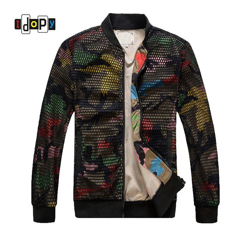 Fashion Mens Camouflage Bomber Jacket Hollow Out Desige Slim Fit Camo Windbreaker Baseball Jacket And Coat For Men