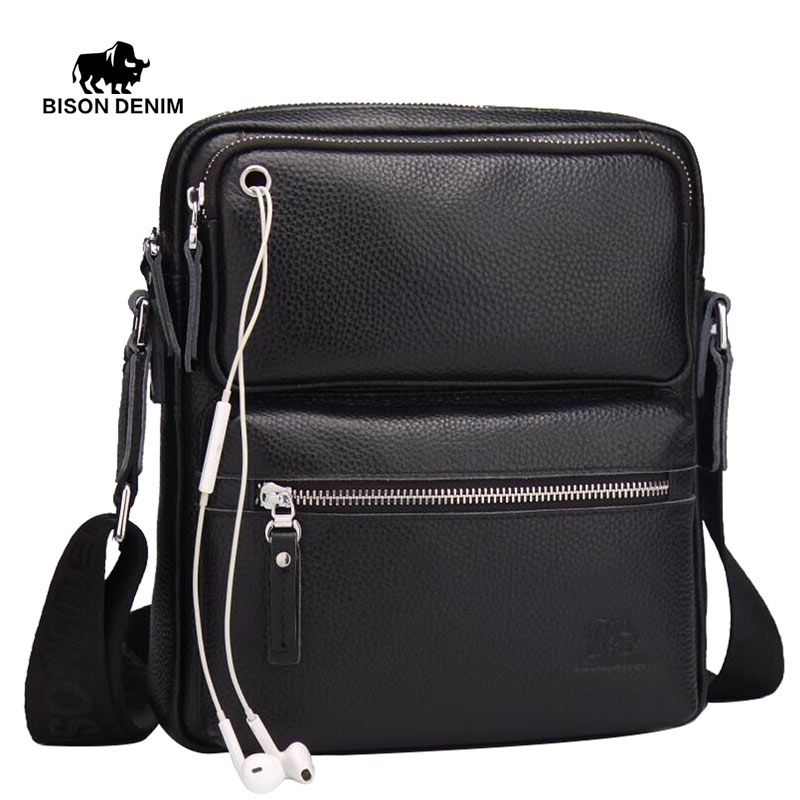 BISON DENIM Genuine Leather Ipad Mini Bag Black Business Messenger bags man crossbody bags for men brand Designer ipad bag