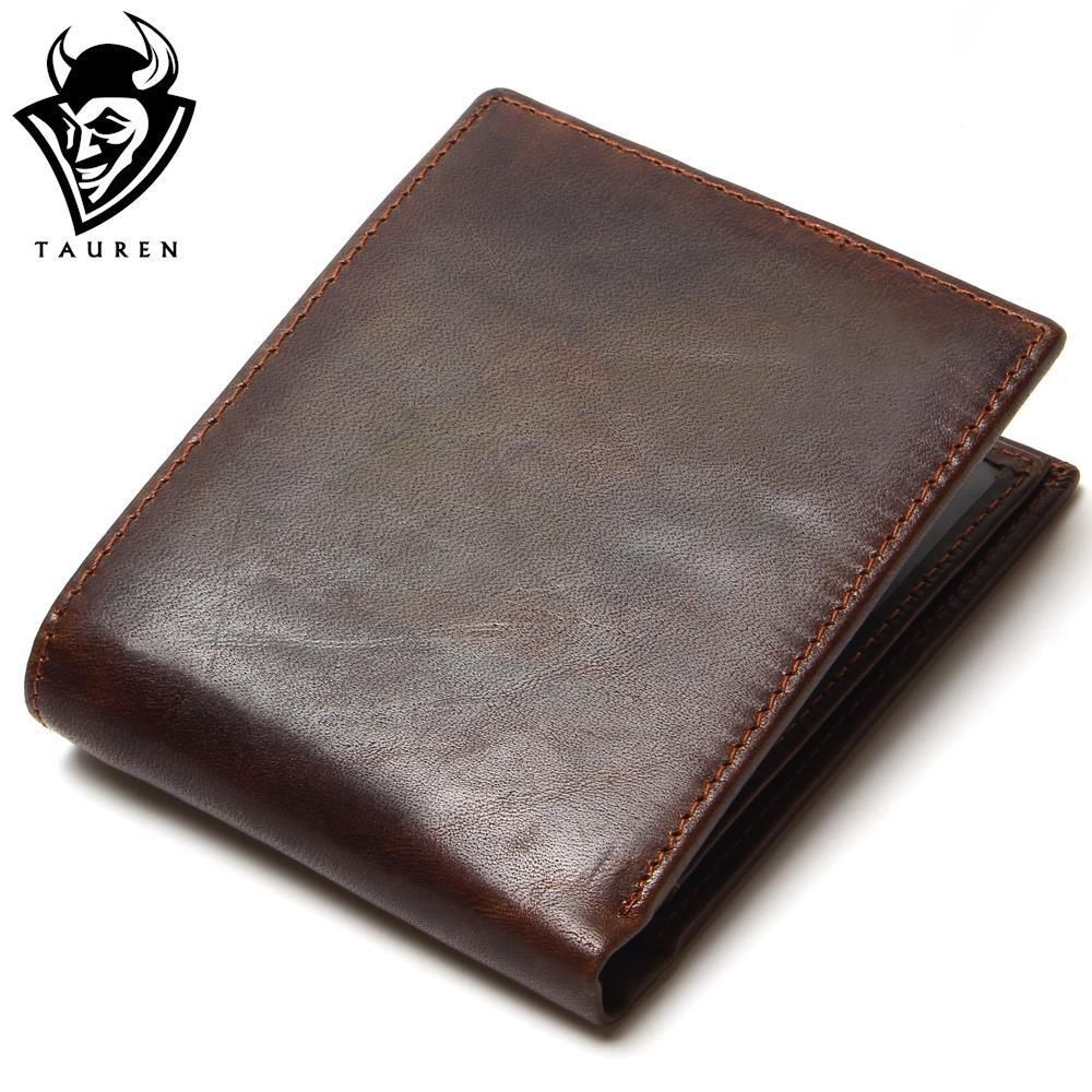 TAUREN 100% Top Quality Natural <font><b>Genuine</b></font> Leather Men Wallets Fashion Splice Dollar Purse Carteira Masculina Mens Purse Wallet