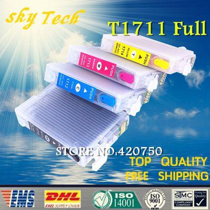 Pleine d'encre rechargeable cartouche costume pour t1711-t1714 t1715 série costume pour epson xp 103/33/203/207/303/306/403/406. avec des puces arc
