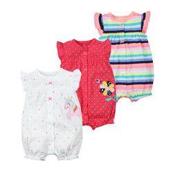 Marque 2018 D'été Bébé Barboteuses Manches Courtes Bébé Filles Vêtements Enfants Combinaisons Nouveau-Né Bébé Garçon Vêtements Roupas robes
