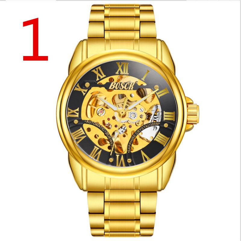 zou's 2018 new stainless steel men's mechanical watch, show noble temperament.244