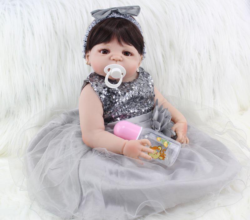 Full Silicone Body Reborn Baby Doll Toys Lifelike 55cm Princess Newborn Girl Babies Doll Birthday Gift Bathe Toy Girls Brinquedo