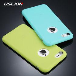 Caso del teléfono del color del caramelo de uslion para el iPhone 7 más llano suave de silicona TPU contraportada Carcasas para iPhone x 7 6 6 s más 5 5S se coque