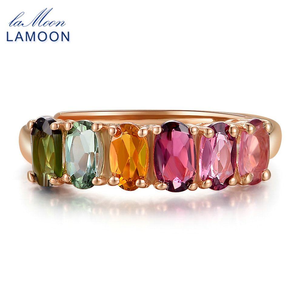 LAMOON 100% véritable naturel 6 pièces 1.5ct ovale multi-couleur Tourmaline anneau 925 bijoux en argent Sterling avec S925 LMRI005
