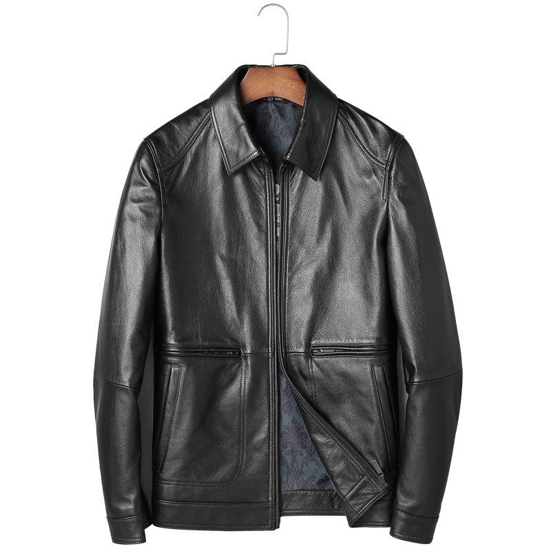 Mode Jacke Schaffell Jacken Leder Herren Leder Echtes Jacke Männer Männliche Kleidung Dünne Quadratische Kragen Moto Chaqueta M-4XL