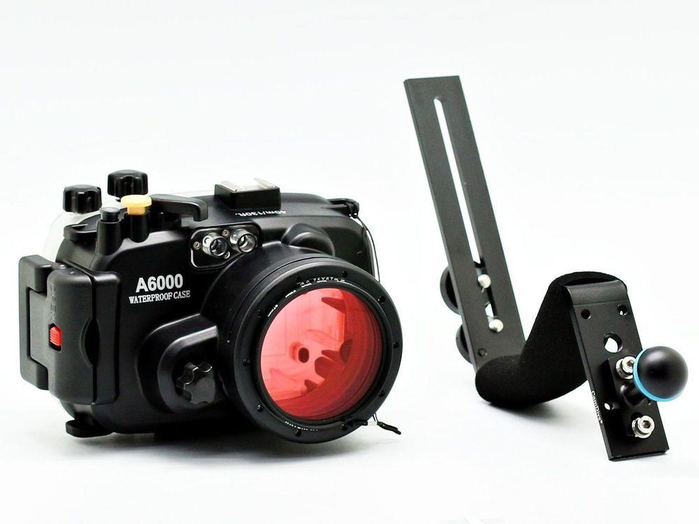 Meikon Unterwasserkamera Gehäuse Für Sony A6000 (16-50mm) 40 mt/130ft + tauchen griff + 67mm Rot tauchen filter