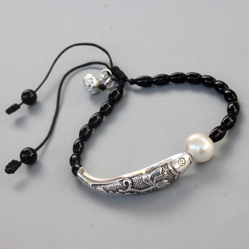 Wholesale Black Stone Natural Pearl With Silver Luck Fish Charm Bracelet For Women Yoga Meditation Wrist Jewelry Handmade Unique
