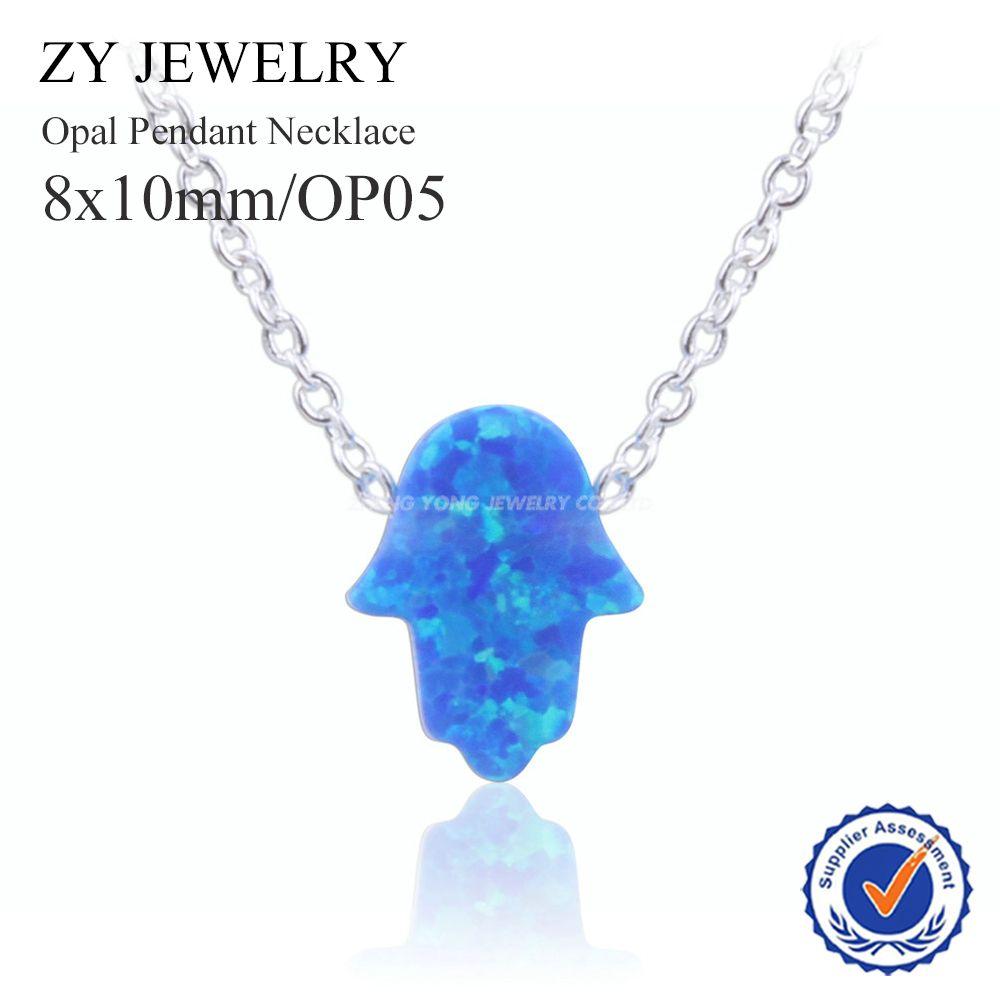 Nouvelle Arrivée 8x10mm Hamsa Opale Pendentif Collier Argent Plaqué Mode OP05 Bleu Fatima Collier en Pierre D'opale pour cadeau