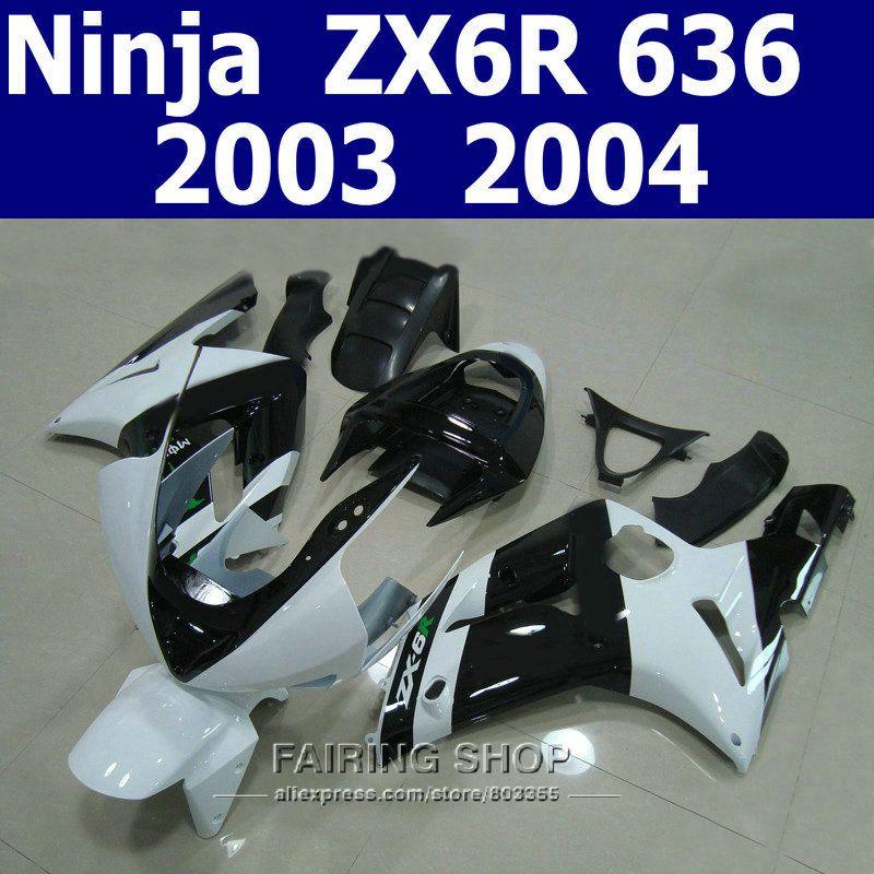 Weiß schwarz verkleidung kit für kawasaki zx6r zx-6r 03/04/2003/2004 Anpassen free Injection Verkleidungen t83