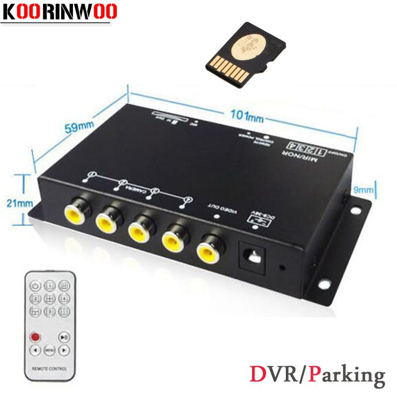 Koorinwoo Car DVR Recorder 9-36V/Parking Assistance Video Switch Combiner Box 360 Degrees Left/Right/Front/Rear view camera