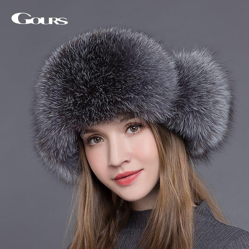 Gours Fur Hat for Women Natural Raccoon Fox Fur Russian Ushanka Hats Winter Thick Warm Ears Fashion Bomber Cap Black New <font><b>Arrival</b></font>