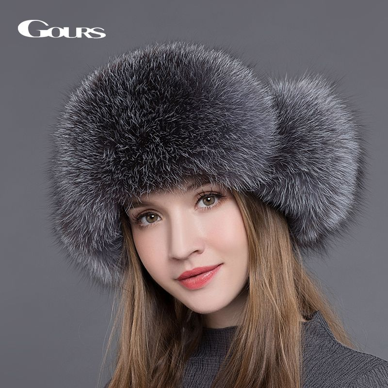 Gours Fur Hat for Women Natural Raccoon Fox Fur <font><b>Russian</b></font> Ushanka Hats Winter Thick Warm Ears Fashion Bomber Cap Black New Arrival