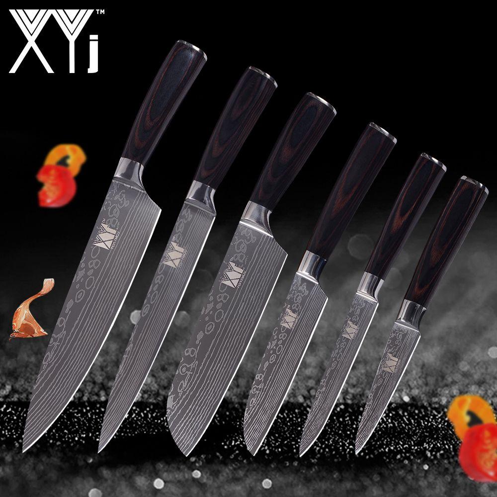 XYj Damaskus Veins Edelstahl Messer Sets Leichte Mühe Farbe Holz Griff Küche Messer 6 Pcs Set Küche Werkzeuge Geschenk