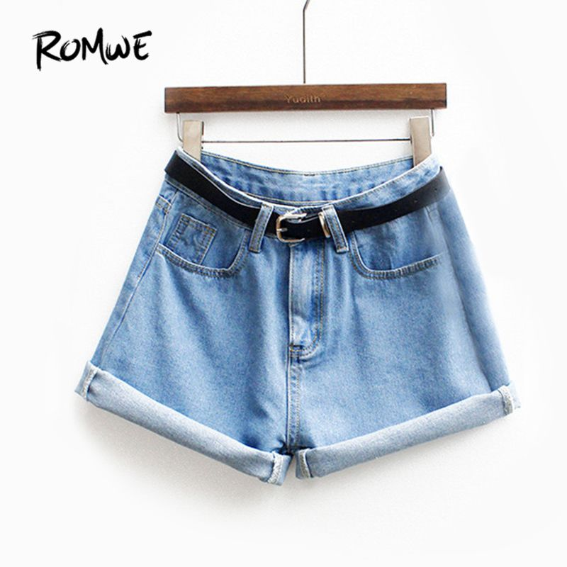 ROMWE Womens Brand Newest Spring Short Jeans Brand Mid Waist Denim Blue Button Fly With Pockets and <font><b>Belt</b></font> Cuffed Shorts