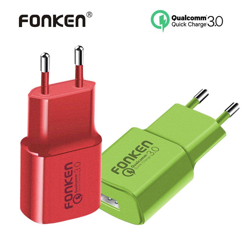 Fonken cargador colorido del USB carga rápida 3.0 cargador rápido Max 18 W QC3.0 QC2.0 adaptador de carga rápida para teléfono móvil cargador