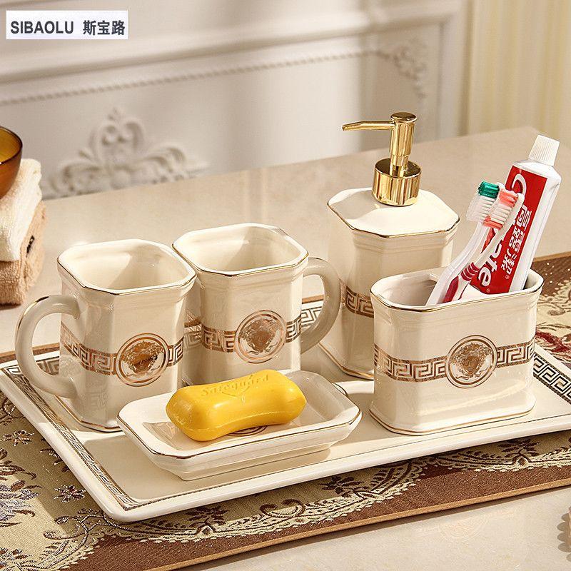 Loción dispensador cepillo de dientes titular Jabones plato enjuague Copa bandeja baño set de baño accesorio de cerámica set productos para el hogar