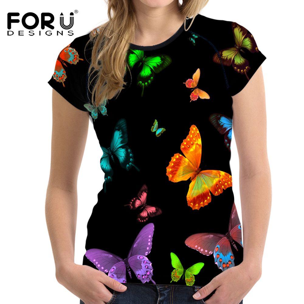 FORUDESIGNS D'été Femmes T-shirt À Manches Courtes Confortable Beauté Papillon 3D T-shirt Casual Tops Filles T-shirt Harajuku Stylé Tee