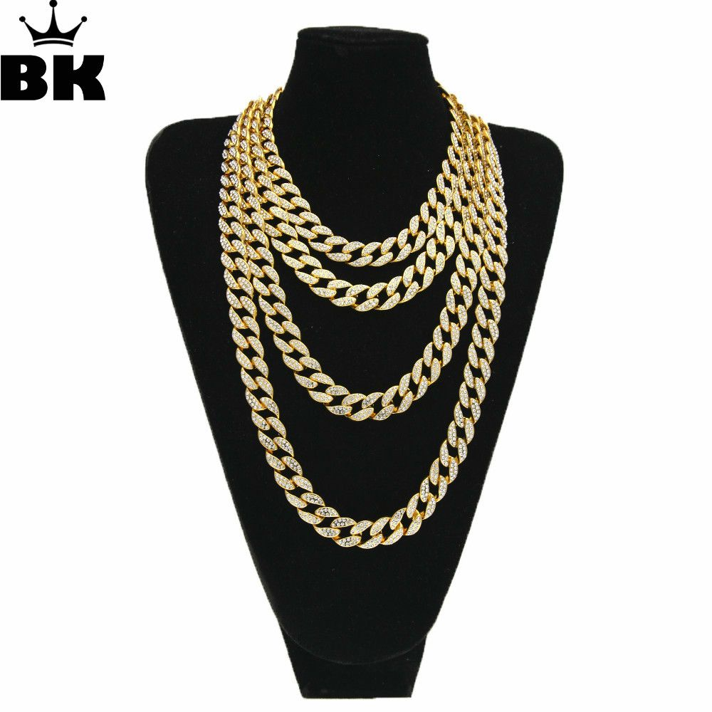 HipHop Gold Silver 15mm Choker Cuban Chain Mens 18inch 20inch 24inch 30inch Miami Cuban Link Chain BlingBling Jewelry