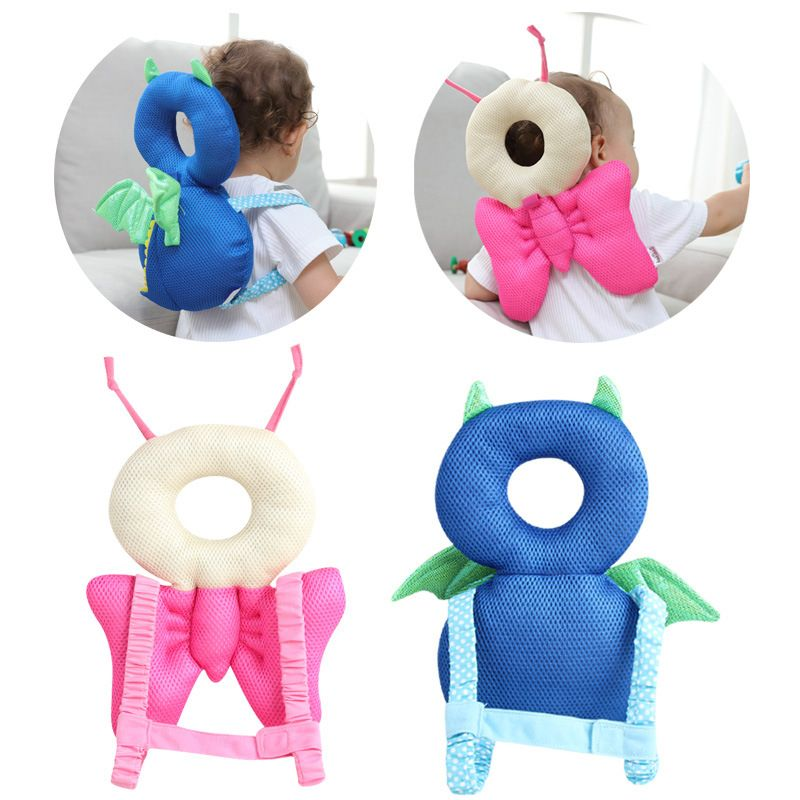 ideacherry Baby Head Protection Pad Toddler Anti-fall Headrest Pillow Baby Neck Cute Wings Resistance Cushion Bedding Backpack