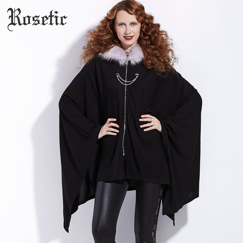 Rosetic Gothic Cloaks Christmas Black Women Winter Outwear Coats Bat Trench Fashion Poncho Witch Vampire Harajuku Goth Cloaks