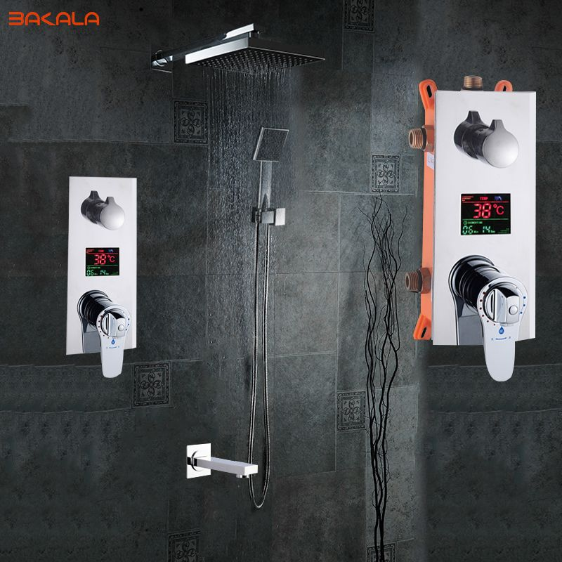 Bathroom Shower Set 3 Functions Thermostatic LED Digital Display Shower Mixer Concealed Shower Faucet 10