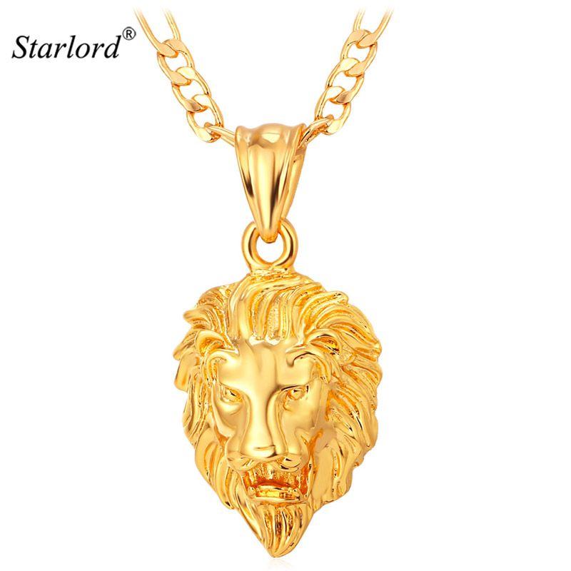 Bijoux Hip Hop chaud grand pendentif tête de Lion couleur or Figaro chaîne pour hommes Kpop déclaration Collier en gros P215
