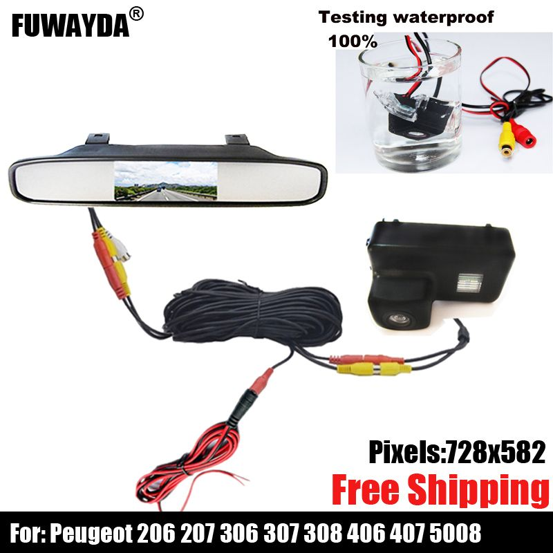 Color Car Rear View Camera for Peugeot 206 207 306 307 308 406 407 5008 Partner Tepee ,with 4.3 Inch Rear view Mirror Monitor