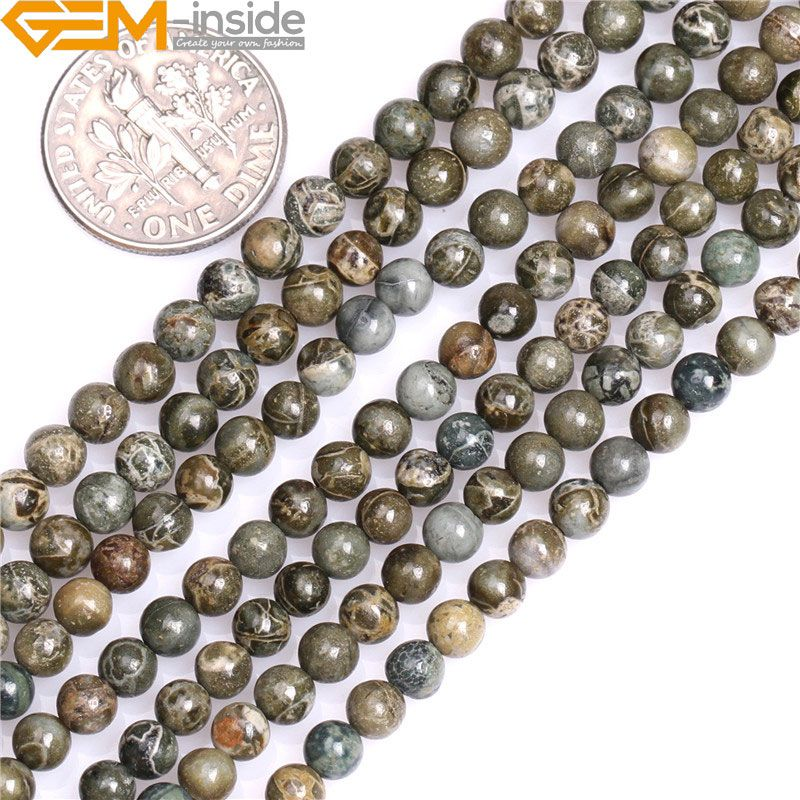4mm 6mm Round Natural Green Bre Jasper Beads Natural Stone Beads DIY Beads For Jewelry Making Bead Strand 15 Inch Wholesale