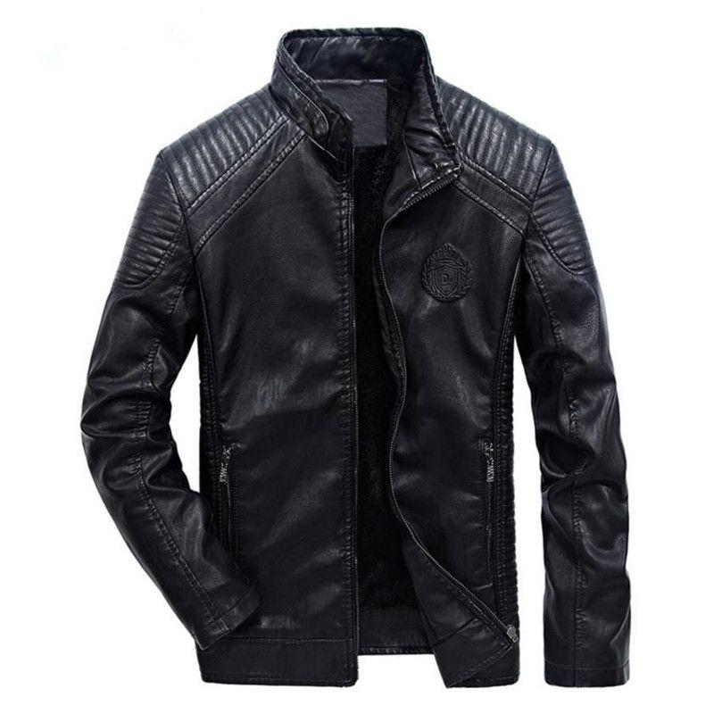 Autumn And Winter men's leather jacket Europe and America leisure motorcycle leather jacket Plus velvet men coat Slim Windproof