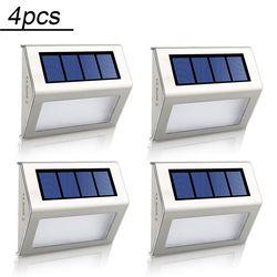 4pcs 2pcs LED Solar Lamp Waterproof IP65 Solar Light Power Garden LED Solar Light Outdoor ABS Wall Lamp