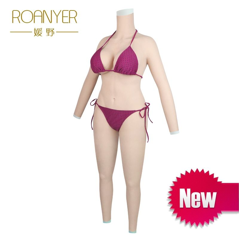 Roanyer transgender silicone breast forms shemale whole body suits with arms fake boobs penetrable fake vagina for crossdressing